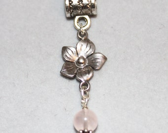 Sterling Silver Flower & Rose Quartz Lrg Hole Bead Fits All European  Add a Bead Charm Bracelet Jewelry Pnd-Cgm007