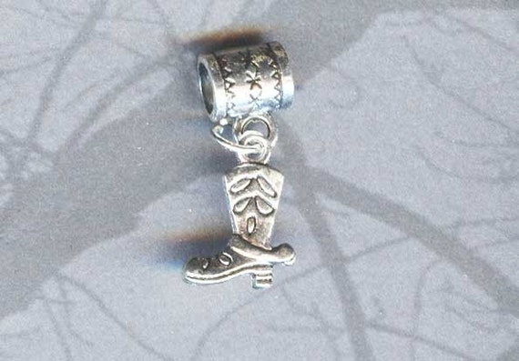 Silver Western Boot and Spur Lrg Hole Bead Fits All European Style Add a Bead Charm Bracelet Jewelry Pnd-Eq008
