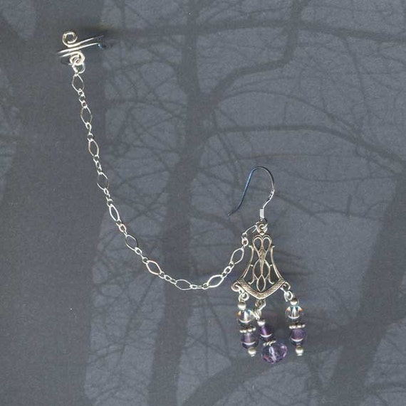 Purple Passions Exotic Sterling Slave Earring / Cuff