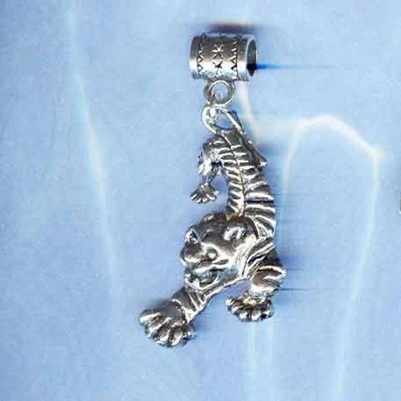 Silver Tiger Lrg Hole Bead Fits All European,  Add a Bead Charm Bracelet Jewelry PND-ANM22