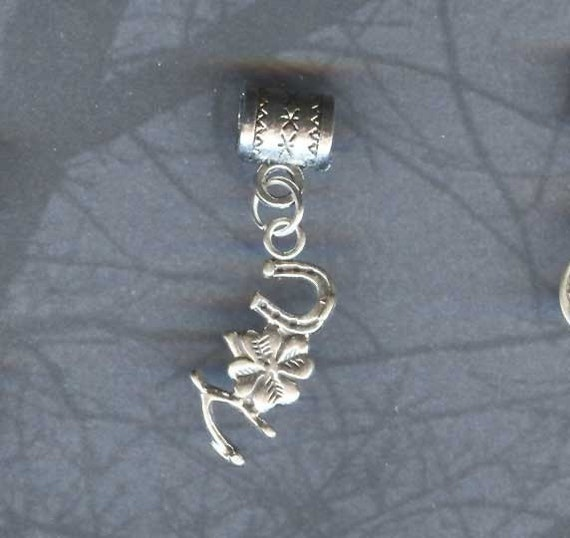 Sterling Silver Lucky Wishbone Horseshoe Shamrock Lrg Hole Bead Fits All European, Chamilia, Troll, Add a Bead Charm Bracelet Jewelry