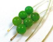 Green Chrysoprase V Style Earrings