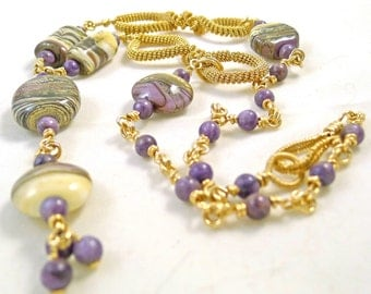 Charoite and Lampwork Gold Wired Necklace