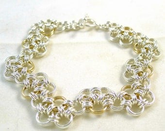 Zig Zag Gold and Silver Chainmaille Bracelet