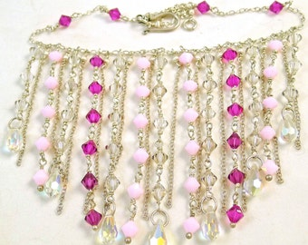 Pink and Fuchsia Sterling Silver Drops Necklace