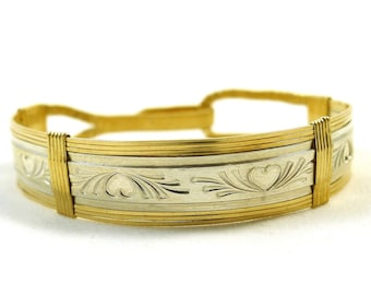Gold and Silver Hearts Wired Bangle