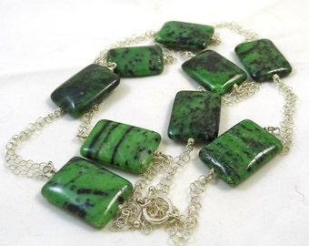 Ruby in Zoisite and Silver Chains Necklace
