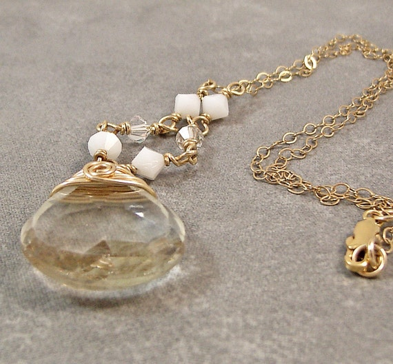 Crystal Quartz and Gold Necklace