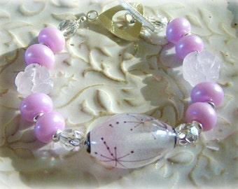 SNOW BUNNY - Artisan Lampwork and Rose Quartz Bracelet