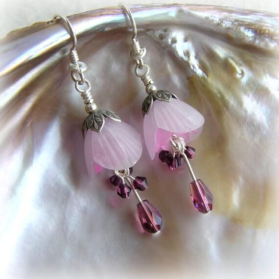 PINK OLEANDER - Lucite Flower Earrings