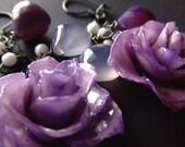 real preserved MULTI PURPLE ROSE bloom earrings by BelaBrazilianDesigns