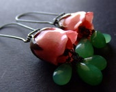 real preserved ROSE BUD and chrysoprase Earrings by BelaBrazilianDesigns
