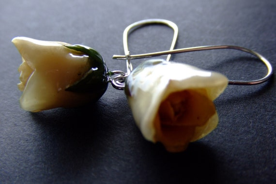 real preserved CHAMPAGNE CREME ROSE Bud Earrings by BelaBrazilianDesigns