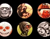 Halloween - 6 Piece Pin Set - Witches - Frankenstein - Dracula - Black Cats - Skull - 1 Inch Pins