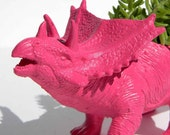 Dinosaur Planter Bright Pink Succulent Planter Triceratop Great for Office Desk or Bedroom