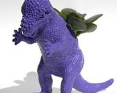 College Dorm Decor Purple Planter Dinosaur Ready to Plant Great for Wheatgrass