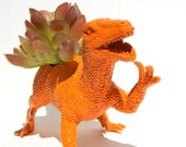 Raptor Dinosaur Planter Gift Ready to Plant Teacher Gift Dorm Decor Bright Orange