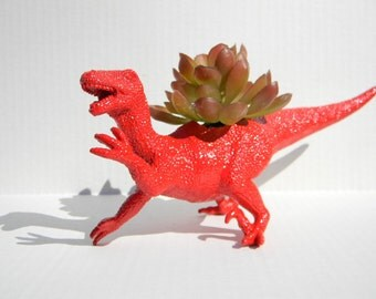 Red Dinosaur Planter Raptor Great for Succulent Plants and Small Cacti