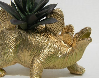 Gold Dinosaur Planter for Succulent Plants Fun Office Decor