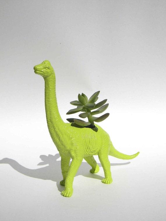 Green Dinosaur Planter For Succulent Plants Brachiosaurus Desk
