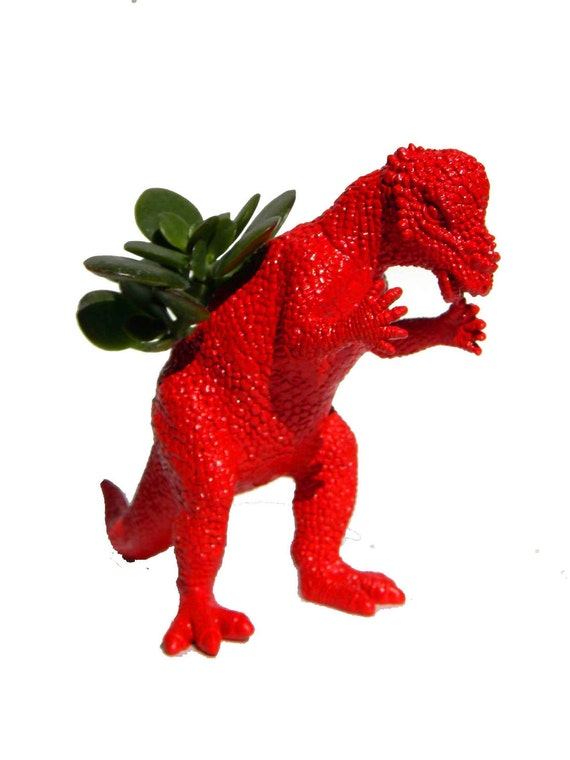 Dinosaur Planter Bright Red Ready to Plant with Small Succulents