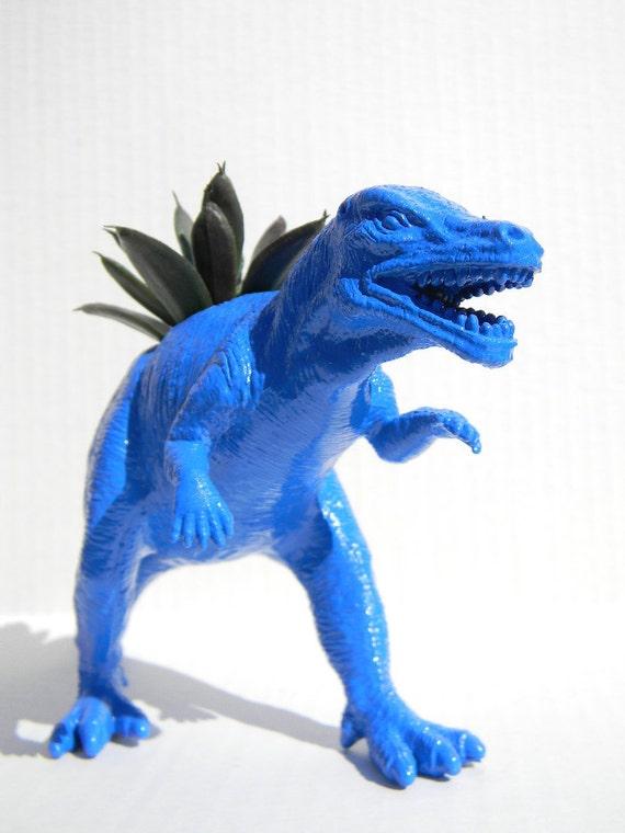Blue Dinosaur Planter for Succulent Plants Fun Office Decor Back to School Dorm