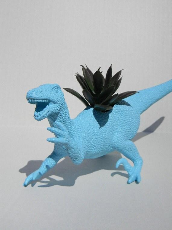 Raptor Dinosaur Planter Dust Blue Great For Succulent Plants