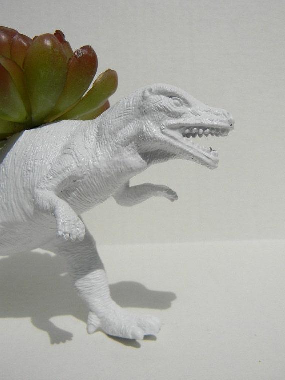 Stark White Dinosaur Planter for Succulent Plants Fun Office Decor