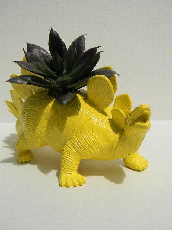 Stegosaurus Dinosaur Planter Banana Yellow For Succulent Plants