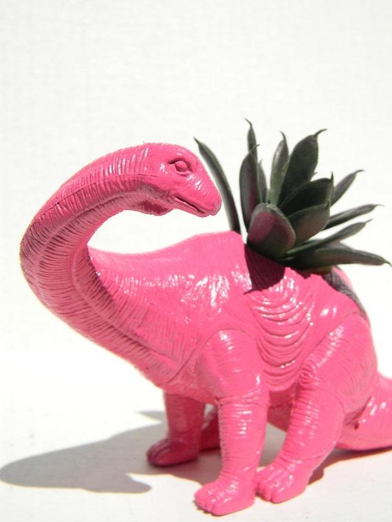 Hot Pink Dinosaur Planter for Succulent Plants Great for New Job Desk Decor or Childrens Birthday