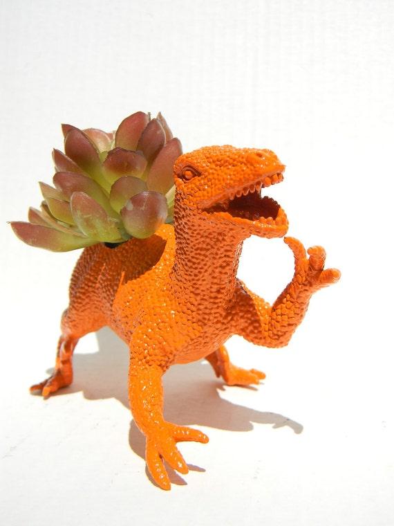 Raptor Dinosaur Planter Gift Ready to Plant Teacher Gift Dorm Decor Bright Orange
