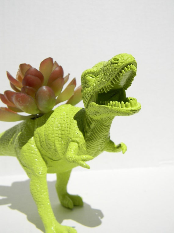 Dinosaur Planter Trex Bright Lime Green Ready To By