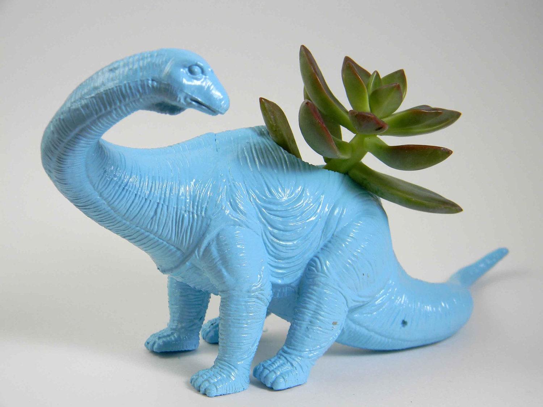 Dinosaur Planter Dust Blue Great For Succulent Plants