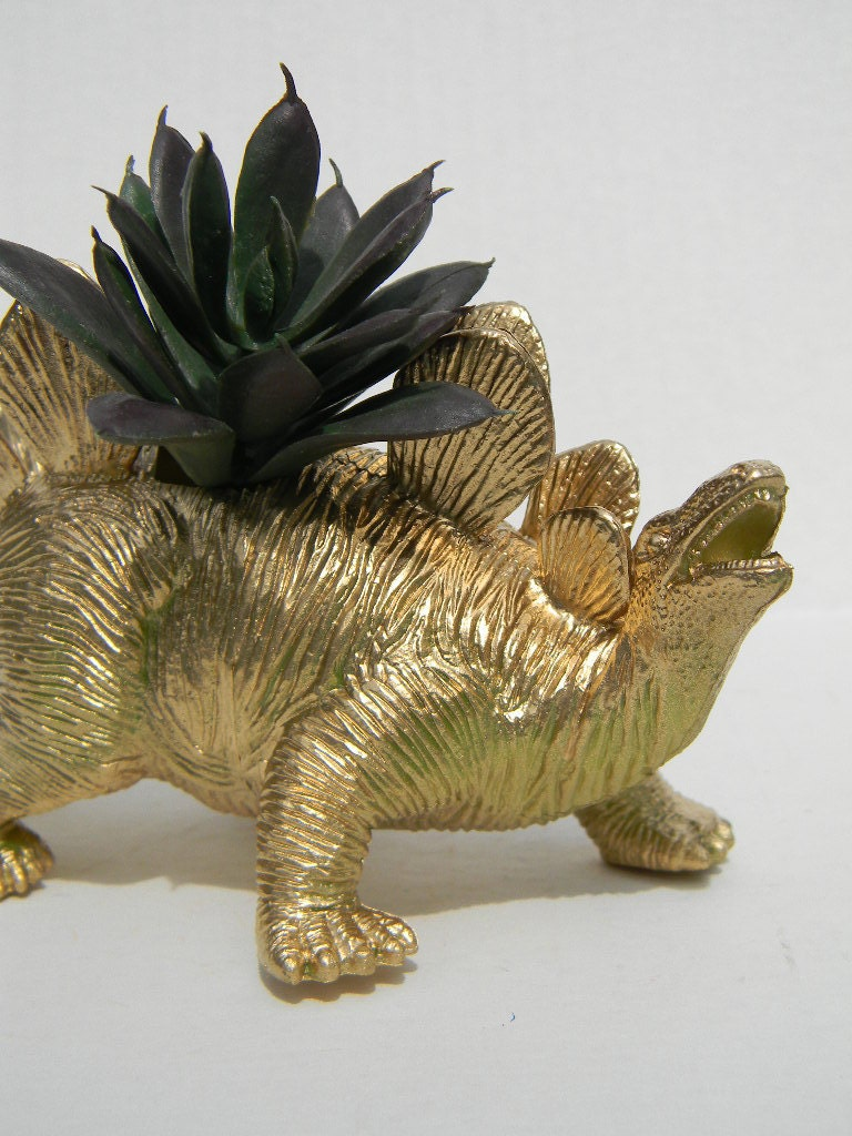 Gold Dinosaur Planter For Succulent Plants Fun Office Decor