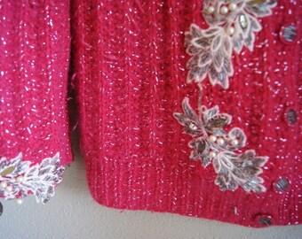 A Vintage Valentine Beaded Sparkle Sweater