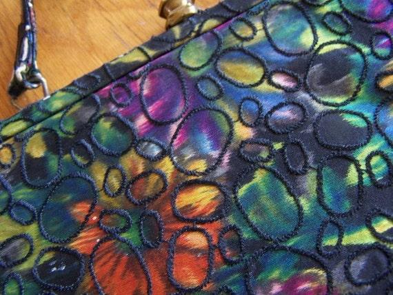 Vintage Colorful Blotter Purse Psychedelic Handbag