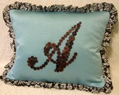 Robin's Egg Blue Letter 'A' Pillow Monogrammed in Chocolate Brown Buttons by Letter Perfect Designs on Etsy -- Any Letter Available