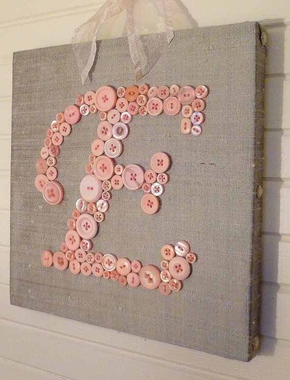 Baby Girl Nursery Wall Art, Kids Wall Art, Button Art, Pink Button Baby Initial on Grey Gray Silk Canvas, Unique Baby Shower Gift
