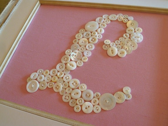 "Baby Nursery Button Monogram -- Custom for 8""x10"" Frame -- by Letter Perfect Designs (frame not included)"