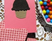 Chocolate Cupcake Birthday Card, Pink with Reclaimed Materials, Cute, Kids, Adults