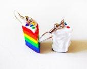 Polymer Clay Rainbow Cake Charm Earrings