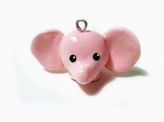 Adorable Pink Elephant Polymer Clay Charm