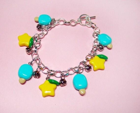 Kingdom Hearts Paopu Fruit and Sea Salt Ice Cream Charm Bracelet