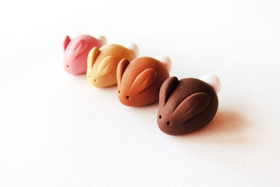 Miniature Fake Candy Bunny Rabbit Set of Four- polymer clay miniature animal decorations