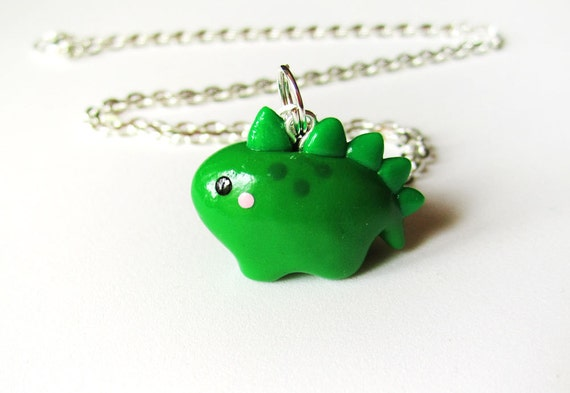 Cute Green Dinosaur Necklace Polymer Clay Baby Stegosaurus