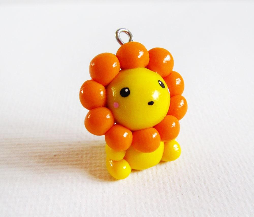 Polymer Clay Cute Kawaii Yellow Lion Charm Necklace