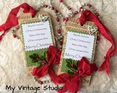 SALE SALE Set of 2 Handmade Vintage Shabby Christmas Gift Tag Winter Tag Set