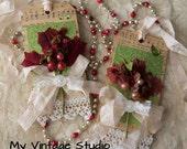 SALE SALE Set of 2 Handmade Vintage Shabby Christmas Gift Tag Winter Wedding Tag Set