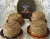 SALE Set of 4 Vintage Coasters Shaped Like Straw Hats