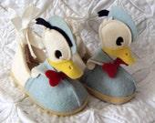 Donald Duck 1950's Childrens Felt Slippers CUTE